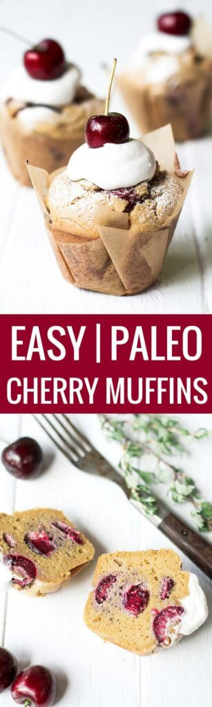 These light and fluffy cherry muffins are paleo and gluten free! Deliciously sweetened with natural sweeteners and fresh cherries this paleo breakfast recipe has the option of making these muffins with NO SUGAR!! Bite into one of these delicious easy to prepare paleo muffins.