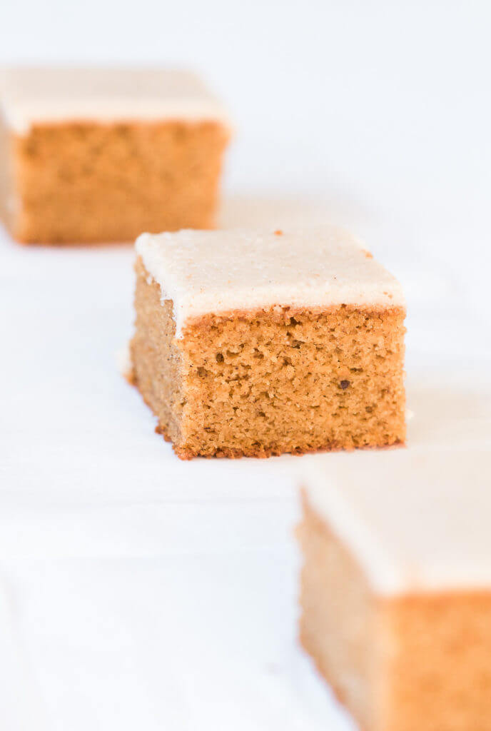 Grain free, gluten free, healthy, paleo, protein packed pumpkin cake with vegan maple frosting- no refined sugar! Soft, light, perfect for a fall dessert or healthy paleo snack. Easy Pumpkin Breakfast Cake.