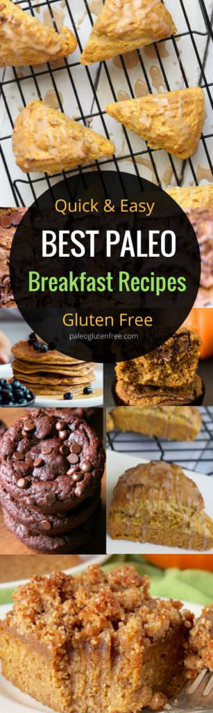 Quick Paleo Diet breakfast recipes for beginners! The best healthy breakfast recipes; including gluten free pumpkin scones and paleo coffee cake. Paleo breakfast ideas, muffins, and more!