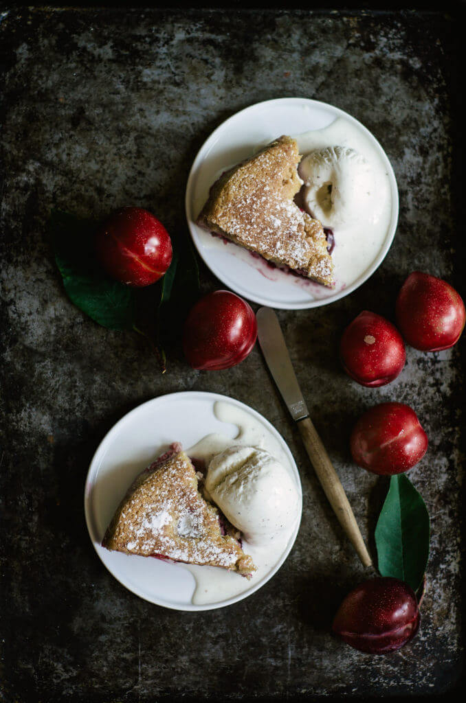Best Easy Paleo Plum Cake Recipe! Gluten Free and healthy breakfast cake, dessert, and snack. Beautiful food photography and food styling.
