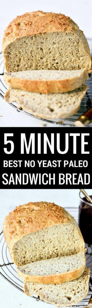 Made in 5 minutes! Best Paleo Gluten Free Sandwich Bread Recipe. Easy gluten free bread. No yeast. Easy paleo breads.