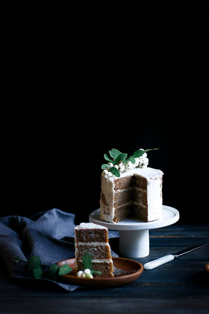 Cake food photogrpahy. Healthy gluten free paleo banana cake. Moist, delicious, easy to make.