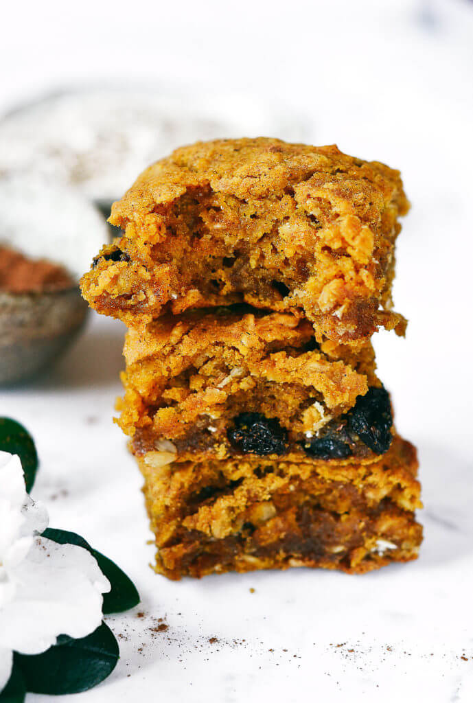 Best gluten free oatmeal pumpkin bars with raisins and chocolate! best gluten free breakfast ideas. Easy healthy recipes for breakfast. Healthy gluten free snack. Best pumpkin recipes. Chocolate oatmeal bars. Easy gluten free cookies.