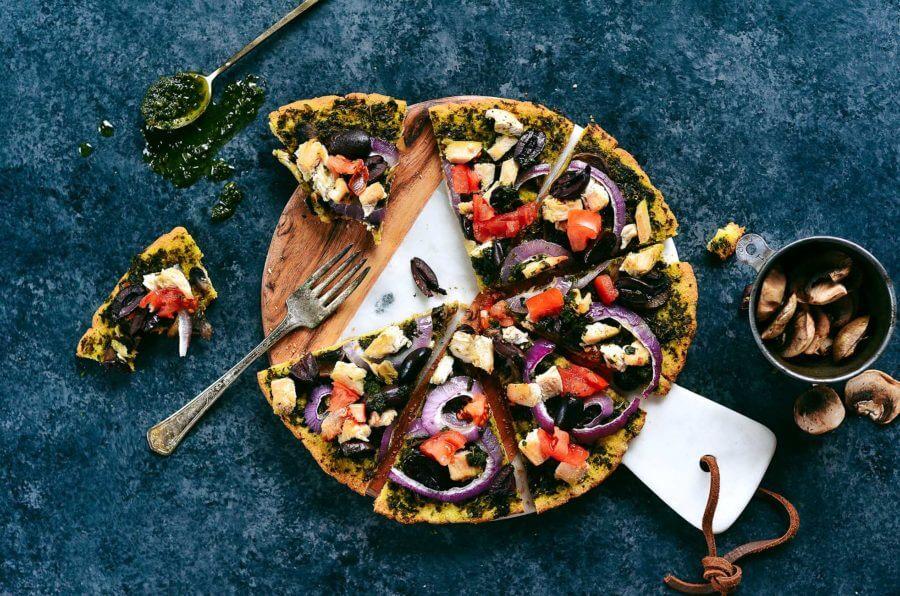 Thin Crust Chicken Pesto Paleo Pizza