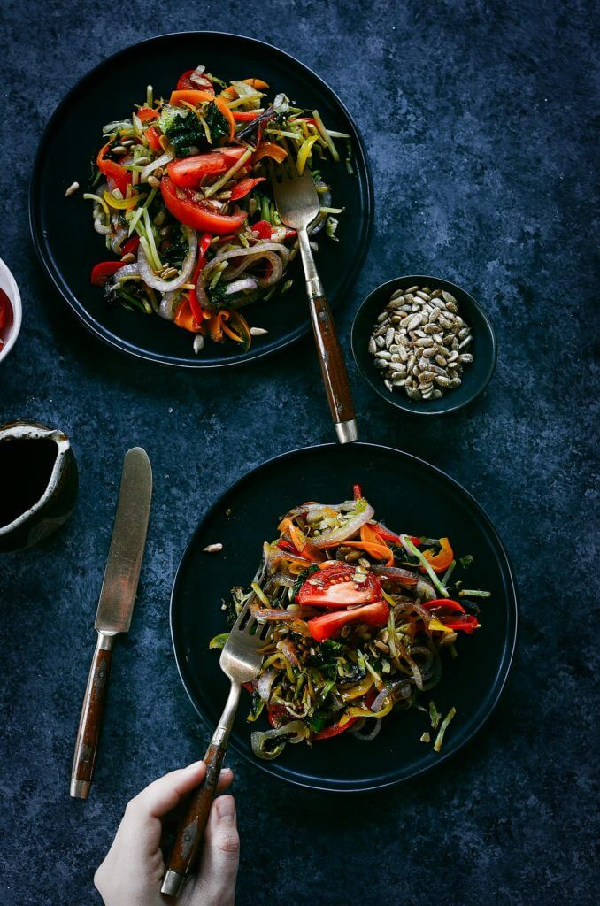 Easy Whole 30 compliant stir fry. This colorful and simple stir fry is made with only paleo ingredients and takes only a few minutes to whip up!
