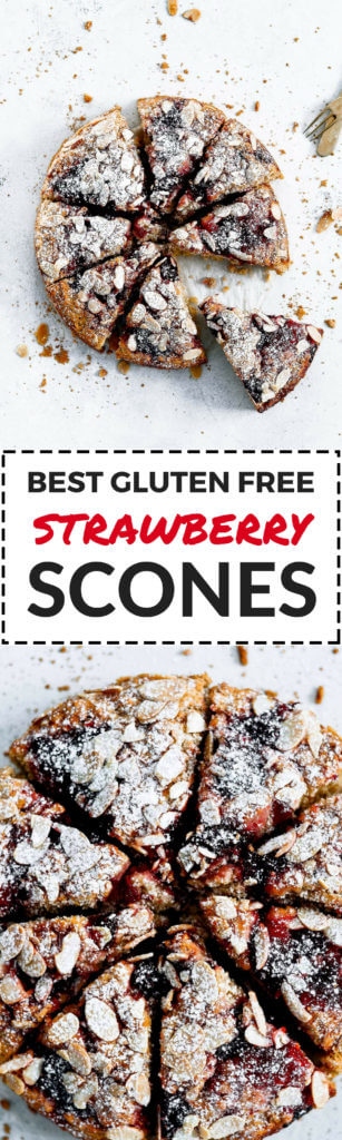 Best easy gluten free strawberry scone recipe! With swirls of strawberries, and almond slivers. Easy healthy scone recipe. Dairy free scone recipe. Coconut oil scones. Easy gluten free coffee cake recipe. Best strawberry coffee cake recipe. Easy gluten free Valentines day recipes.