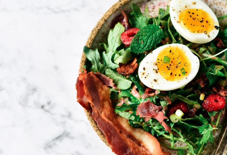 Whole30 Baby Greens Bacon Breakfast