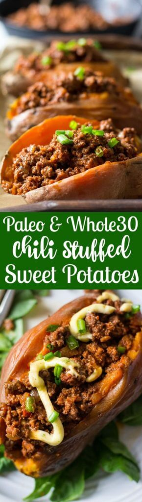 Easy and healthy Paleo and Whole30 chili that makes a great weeknight dinner! Just bake the sweet potatoes ahead of time - the chili is ready is 20 minutes!