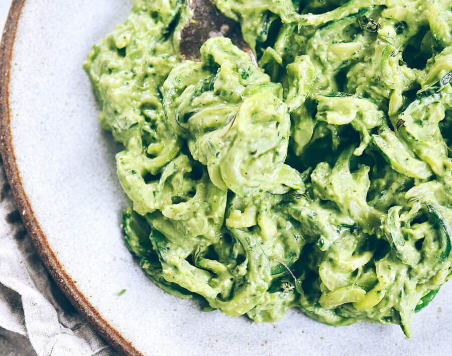 Creamy Whole30 Avocado Pesto Noodles