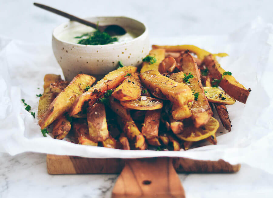 Extra Crispy Garlic Lime Sweet Potato Fries
