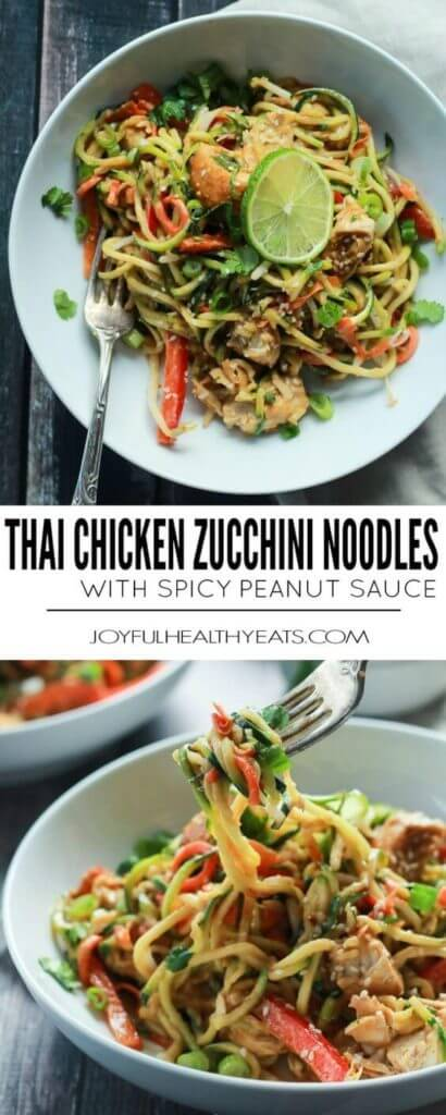 Zoodles are the star in this easy 15 minute Thai Chicken Zucchini Noodles recipe with Spicy Peanut Sauce – only 363 calories and packed with a punch of flavor!