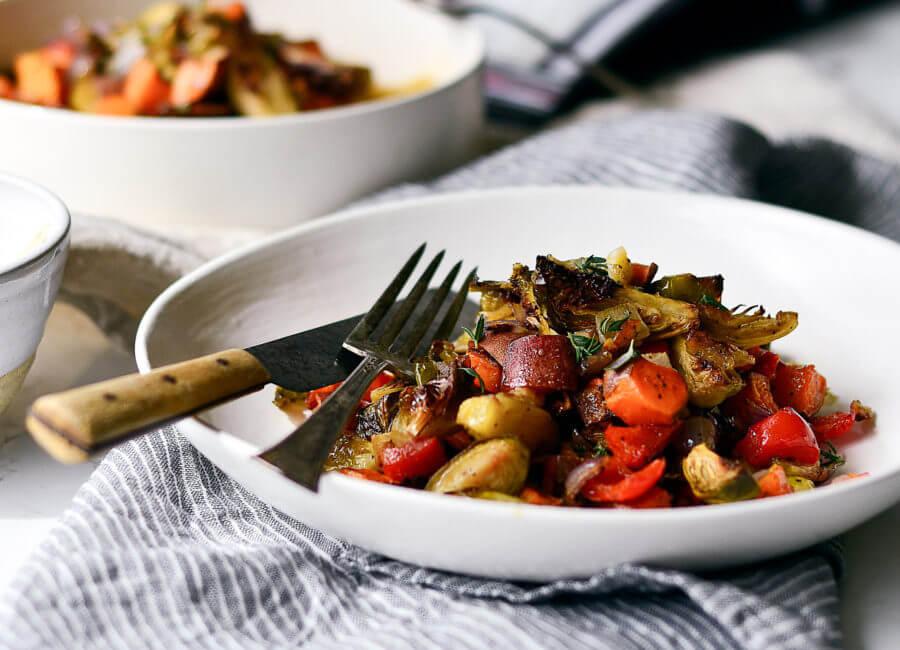 Crispy Veg Garlic Chicken Sheet Pan Meal