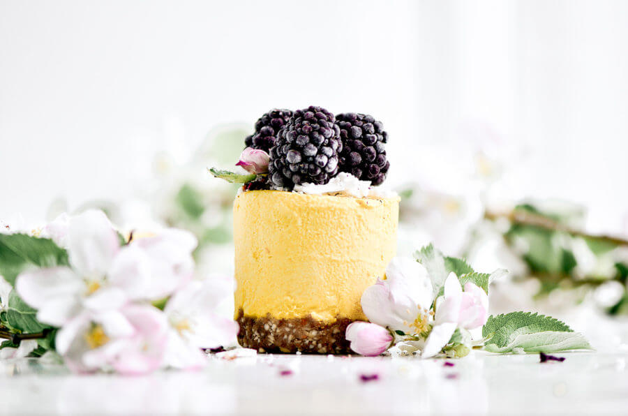 Raw Lemon Peach Vegan Cheesecakes