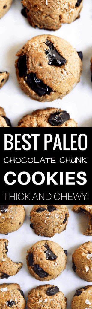 Thick and chewy paleo vegan chocolate chunk cooke recipe. The most delicious paleo and vegan chocolate chunk cookies! Thick, of so soft, chewy, perfect texture. Ready for eating in only 15 minutes. My favorite Paleo cookie I've ever made… and I've made a lot! Easy paleo cookies. Paleo cookies recipe. Healthy paleo cookies. Paleo chocolate chip cookie recipe. Almond flour cookie recipe. Easy healthy cookie recipe. Best gluten free chocolate chip cookie recipe. vegan cookie recipes. Easy vegan cookies. Easy gluten free cookies. Best paleo chocolate chip cookies. Simple paleo chocolate chip cookies. Maple syrup paleo cookie recipe.