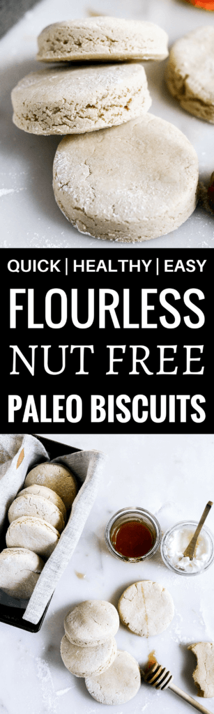 Paleo nut free cassava flour biscuits. Easy to make, perfect for meal prep, storing in the freezer, and perfect for toasting! Gluten free, dairy free, nut free, and yummy! Best paleo biscuit recipe. Easy paleo biscuits. Gluten free biscuit recipe. Butter free biscuits. Easy gluten free biscuit recipe. Cassava flour biscuits. Grain free biscuits. Easy paleo biscuit recipes.