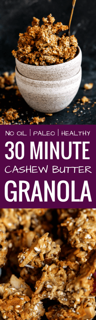 Crispy, crunchy, no oil or oats, or refined sugar! This healthy Paleo granola recipe is insanely delish and made in 30 minutes! Perfectly paired with coconut yogurt. Made with toasty coconut, almond, nutty infusions, and cinnamon spice. Sweetened naturally.! Made in minutes. Whole30 breakfast recipes. Whole30 breakfast ideas. Whole30 granola. Paleo granola recipe. Easy paleo granola. Best grain free granola recipe. Healthy breakfast ideas. Easy breakfast recipes. Whole30 meal ideas. whole30 meal plan.