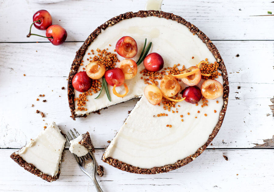 Raw Vanilla Bean Cherry Cheesecake