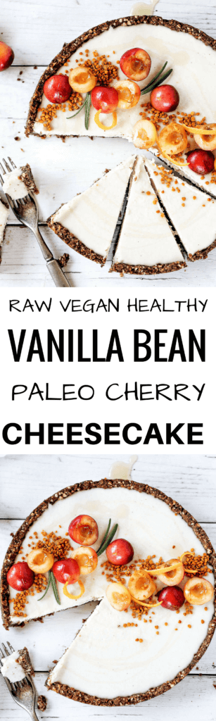 "Raw vanilla bean and cherry cheesecake made with paleo ingredients. Creamy cashew filling in a ""graham cracker"" crust. Stores well in the fridge and freezer. Naturally gluten free and dairy free. Raw paleo cheesecake recipe. No bake cashew cheesecake. Best gluten free vegan cheesecake. Raw paleo cheesecake recipe. No bake cheesecake recipe. Paleo cream cheese. Best paleo dessert recipes. easy cashew cheesecake. cherry cake recipes. best paleo cherry cake. cherry photography. cake photography."