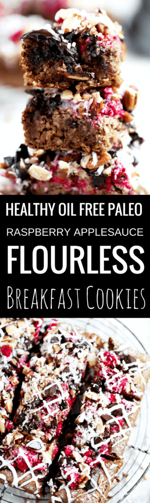 Quick, easy, and healthy paleo applesauce raspberry breakfast bars are oil free, grain free, vegan, and sugar free (made with only fruit sugar!). They are so tasty, moist, and the perfect bar for breakfast, snack, or dessert. Healthy breakfast bars. Paleo breakfast cookies. Vegan healthy breakfast cookies. Healthy paleo breakfast cookie recipe. Easy paleo breakfast ideas. Healthy breakfast recipes.
