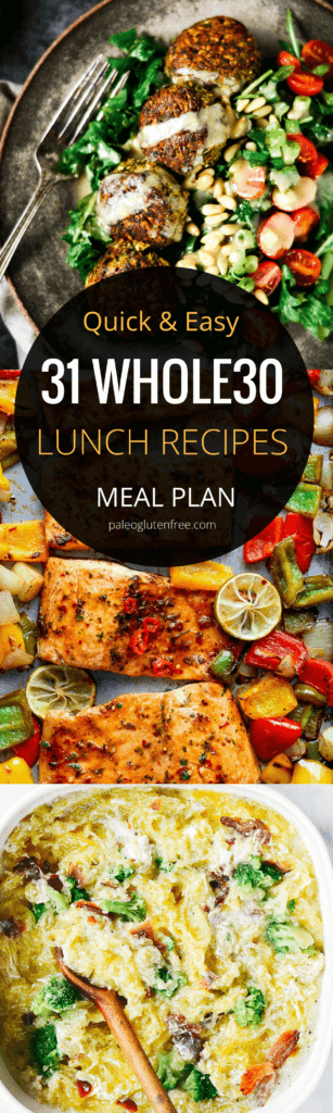 31 days of easy whole30 lunch recipes! Here it is! A quick, easy, and delicious meal plan for an entire month! Hit your goal with this easily customizable meal plan. Best whole30 lunch recipes all in one place. 31 days of whole30 lunch recipes! Whole30 meal plan that's quick and healthy! Whole30 recipes just for you. Whole30 meal planning. Whole30 meal prep. Healthy paleo meals. Healthy Whole30 recipes. Easy Whole30 recipes. Best paleo shopping guide. Easy whole30 lunch recipes. Easy whole30 lunch ideas. Whole30 lunch recipes. Best whole30 lunch recipes. Easy whole30 lunch recipes.