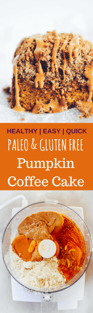 Paleo Pumpkin Coffee Cake- easy, healthy, and delicious! Gluten free, grain free, and dairy free. Light and fluffy gluten-free Paleo pumpkin chocolate chip coffee cake is the perfect warm and comforting, easy go-to, fall breakfast. Grain free, naturally sweetened, and freezer storage friendly.