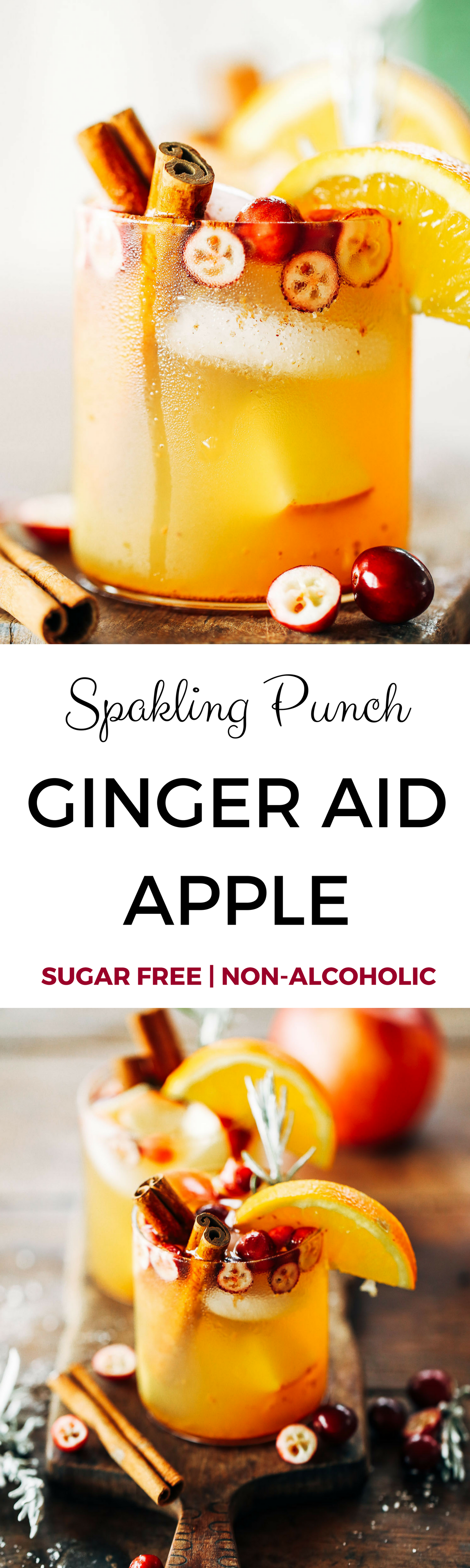 Sugar free holiday drinks. Non alcoholic sugar free punch- the perfect party hit, both kids and adults will love! Sparkling ginger aid apple punch with fresh fruit and sugar free soda! Best non alcoholic drinks. Non alcoholic punch. Apple cider recipes. Non alcoholic sangria. Christmas drinks. Non alcoholic Christmas drinks.