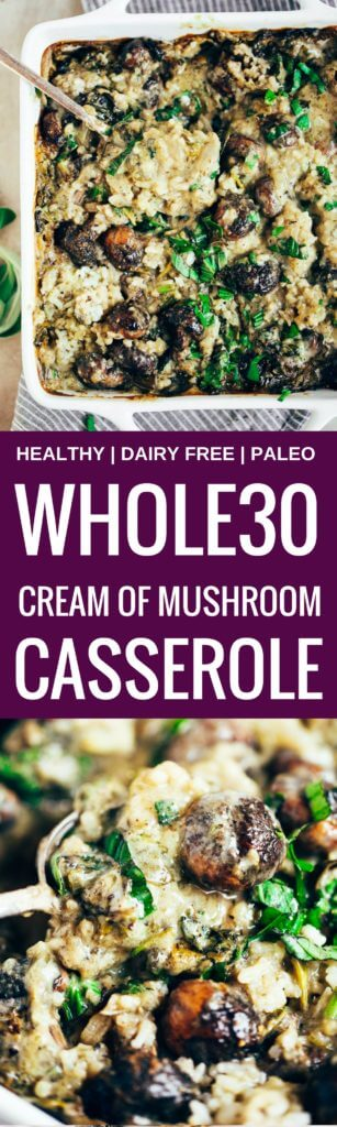Warm and addicting comfort food alert! Cream of mushroom casserole (paleo, whole30, and dairy free). Layers of creamy sauce, cauliflower rice, herbed mushrooms, and lots of fresh basil! Made in minutes, then it's in the oven! Easy whole30 dinner recipes. Whole30 recipes. Whole30 lunch. Whole30 recipes just for you. Whole30 meal planning. Whole30 meal prep. Healthy paleo meals. Healthy Whole30 recipes. Easy Whole30 recipes.