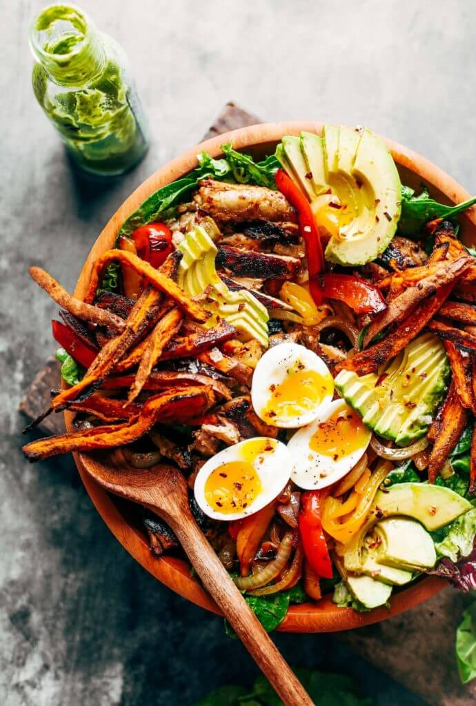 Grilled garlic lime chicken fajita salad paleo gluten free eats grilled garlic lime chicken fajita salad loaded with crispy sweet potato fries grilled chicken forumfinder Choice Image