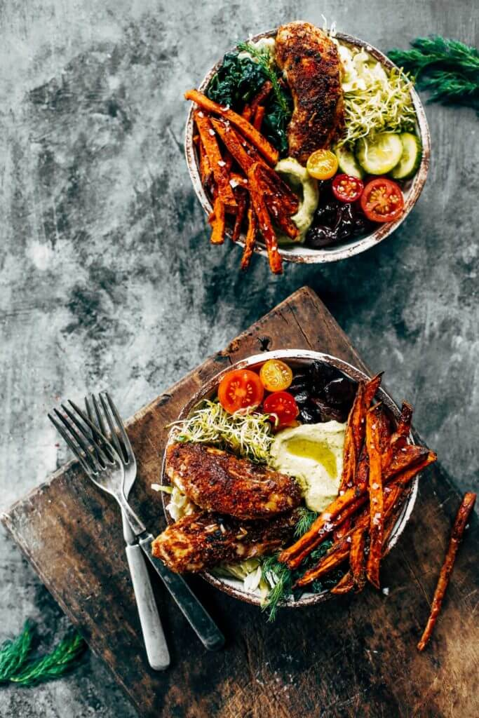 Crispy sweet potato fries, baked southwest chicken strips, creamy garlic avocado dipping sauce, and vibrant greens. Paleo, whole30, and gluten free. The whole family is going to love this meal! Put it on the table… and there will be none left. Easy whole30 dinner recipes. Whole30 recipes. Whole30 lunch. Whole30 recipes just for you. Whole30 meal planning. Whole30 meal prep. Healthy paleo meals. Healthy Whole30 recipes. Easy Whole30 recipes