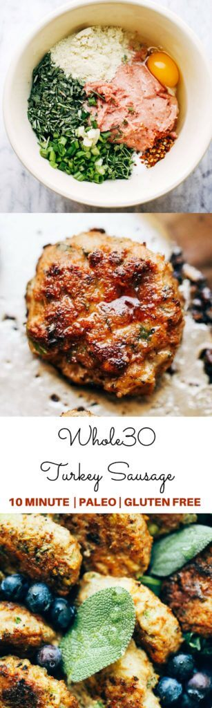 Easy homemade breakfast sausage recipe- paleo, whole30 friendly sausage, and ready in 10 minutes! Your new favorite savory breakfast treat. Full of flavor, fresh herbs, and lean turkey meat. Whole30 breakfast no eggs. Best whole30 breakfast recipes. Easy whole30 breakfast recipes. Make ahead paleo whole30 breakfast recipes. Whole30 paleo breakfast sausage. Easy homemade whole30 sausage recipes. Easy Whole30 breakfast sausage. Whole30 meal plan. Best easy whole30 meal plan.