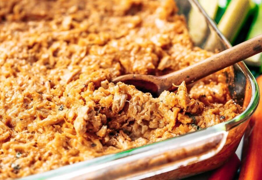 Creamy Buffalo Chicken Cauliflower Rice Bake