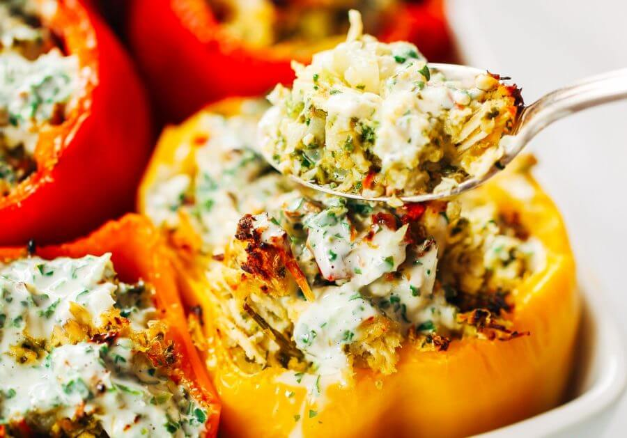 Chicken Ranch Paleo Whole30 Stuffed Peppers