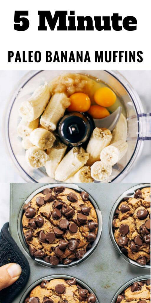 Paleo banana muffins made in the blender- in 5 minutes! Made with cauliflower! #paleodiet #paleobreakfast #healthybreakfast #chocolate #bananas Best healthy paleo-diet breakfast banana muffins. Paleo muffins easy. Paleo chocolate banana muffins. Paleo coconut flour muffins. Easy paleo gluten free banana muffins. Paleo diet for beginners. Paleo diet plan. Paleo diet recipes. Paleo diet breakfast. Paleo diet meals.