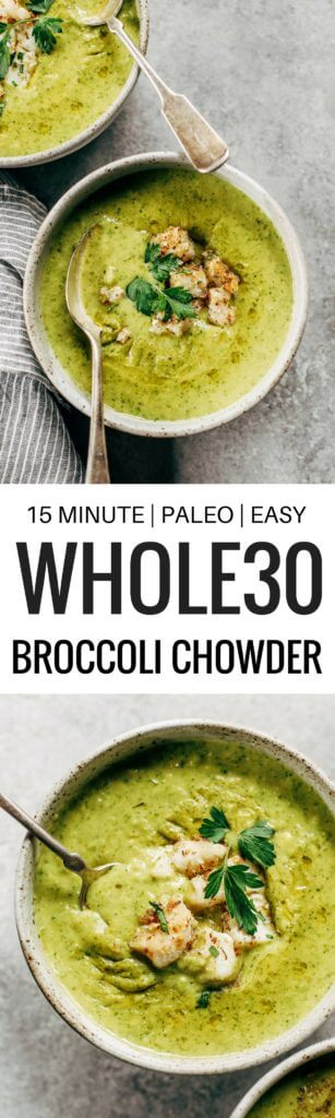 Creamy broccoli chowder with herb crusted cod. The perfect creamy and cozy soup for moody spring days. Paleo, dairy free, and whole30. Can be made ahead and frozen! Paleo soup. Whole30 soup recipe. Easy whole30 dinner recipes. Whole30 recipes. Whole30 lunch. Whole30 meal planning. Whole30 meal prep. Healthy paleo meals. Healthy Whole30 recipes. Easy Whole30 recipes. Easy whole30 dinner recipes.