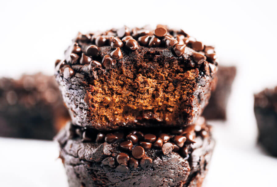 Healthy Chocolate Sweet Potato Avocado Muffins