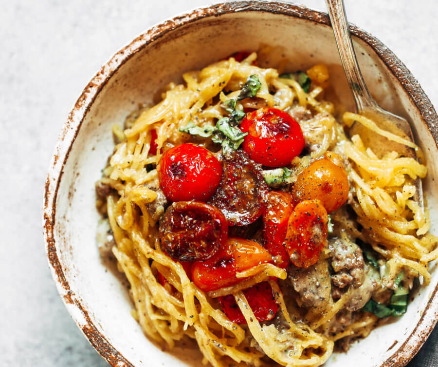 Whole30 Spaghetti Noodles With Beef And Tomatoes