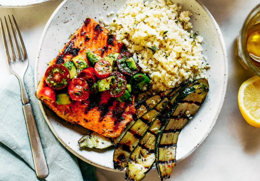 Lemon Thyme Grilled Salmon Cauliflower Rice