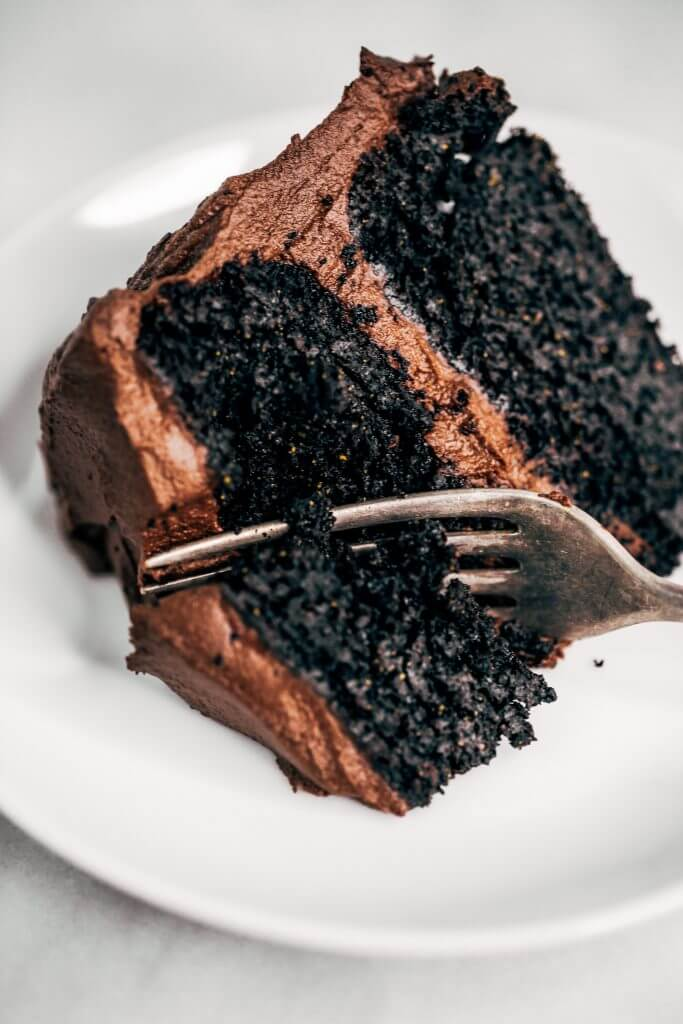 Best paleo chocolate cake you will ever have! Made with sweet potatoes instead of flour and avocado chocolate frosting. This flourless and dairy free chocolate cake is made in the food processor and perfect for any celebration! Are you ready for this easy gluten free chocolate cake recipe? #cake #recipes #baking #paleo
