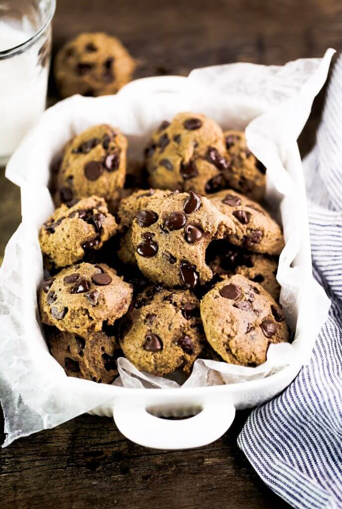 Low sugar and the most delicious chocolate chip cookies! These healthy paleo chocolate chip cookies are perfect and so easy to make. Cassava flour cookies that are low sugar and taste amazing! #cookies #baking #paleo #recipes #cooking