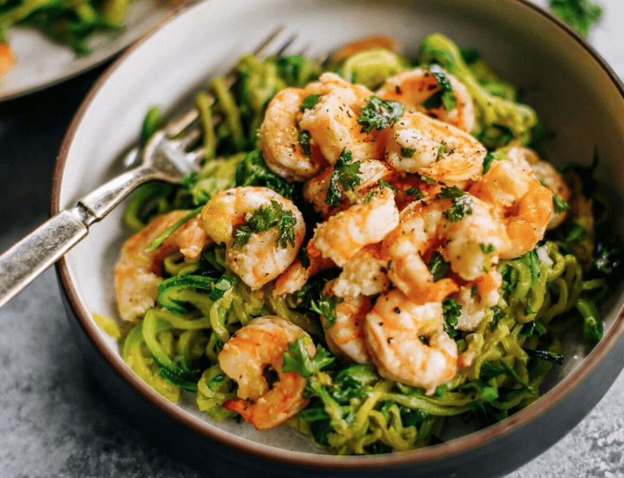 Zucchini Noodles With Lemon Garlic Shrimp