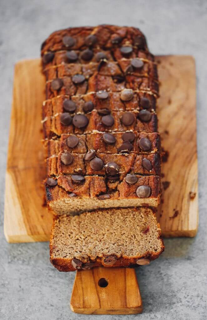 How to make coconut flour banana bread. An easy paleo banana bread recipe, naturally sweetened with dates. This gluten free loaf is made in just minutes in a food processor! Make this easy breakfast bread the whole family will love. #paleo #recipes #glutenfree #fruit #baking #cooking